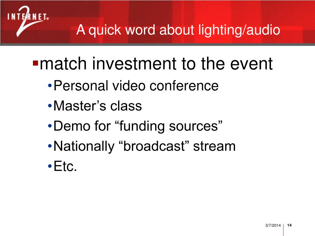 A quick word about lighting/audio