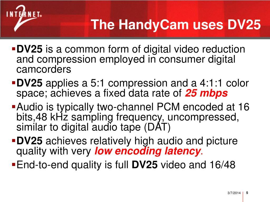 The HandyCam uses DV25