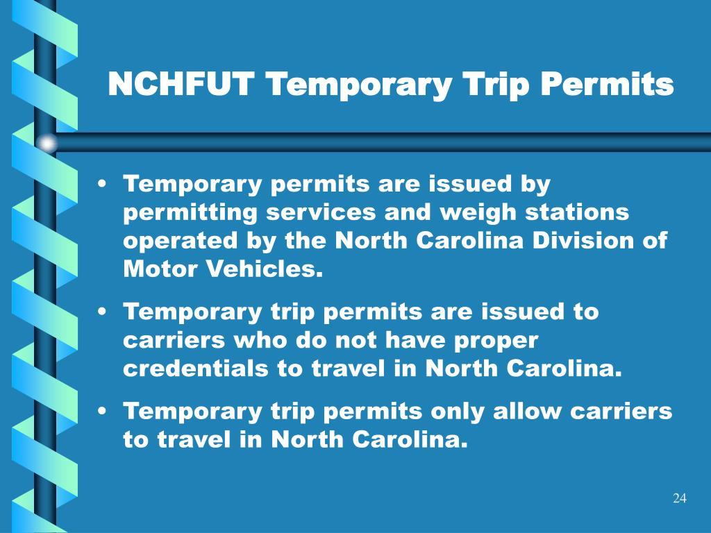 NCHFUT Temporary Trip Permits