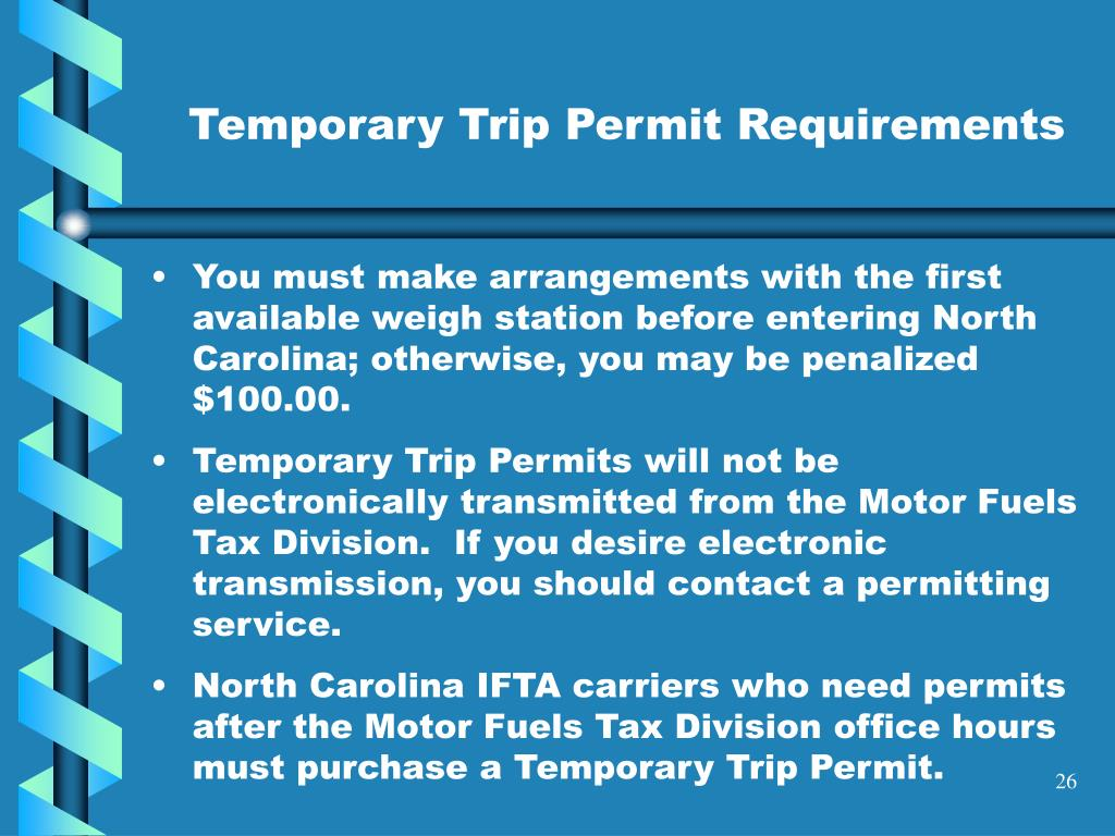 You must make arrangements with the first available weigh station before entering North Carolina; otherwise, you may be penalized $100.00.