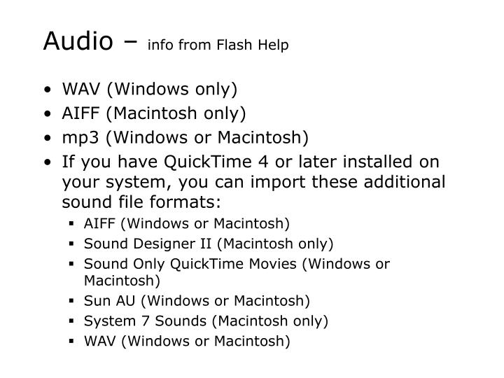 Audio info from flash help