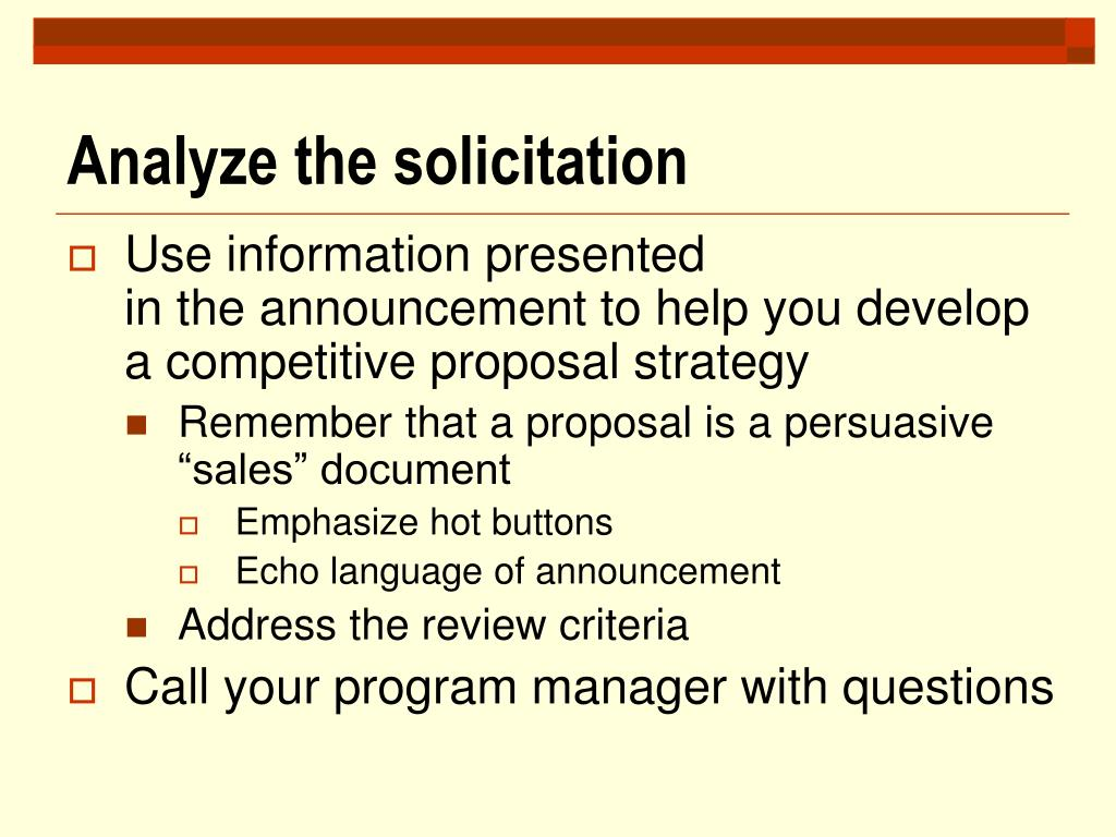 Analyze the solicitation