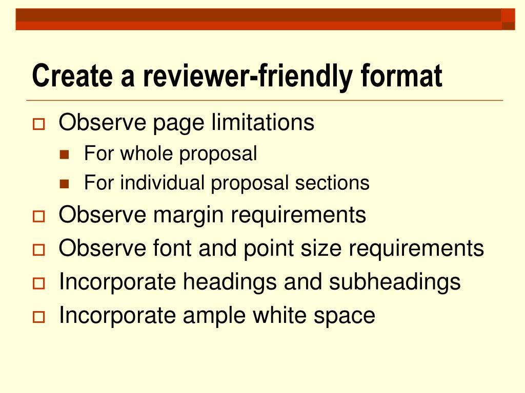 Create a reviewer-friendly format