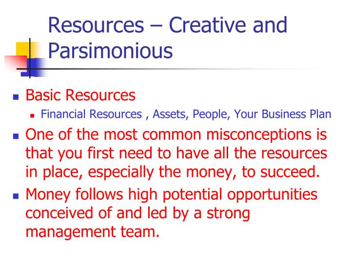 Resources – Creative and Parsimonious