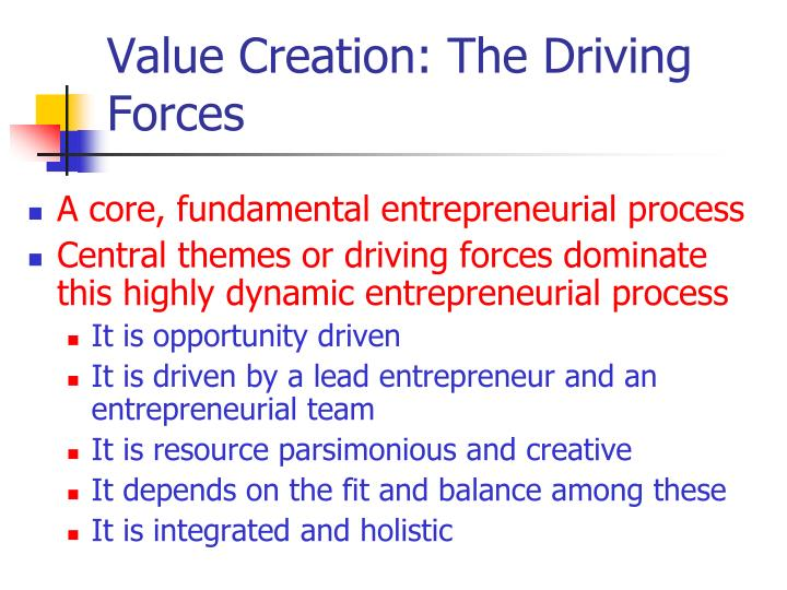 Value Creation: The Driving Forces