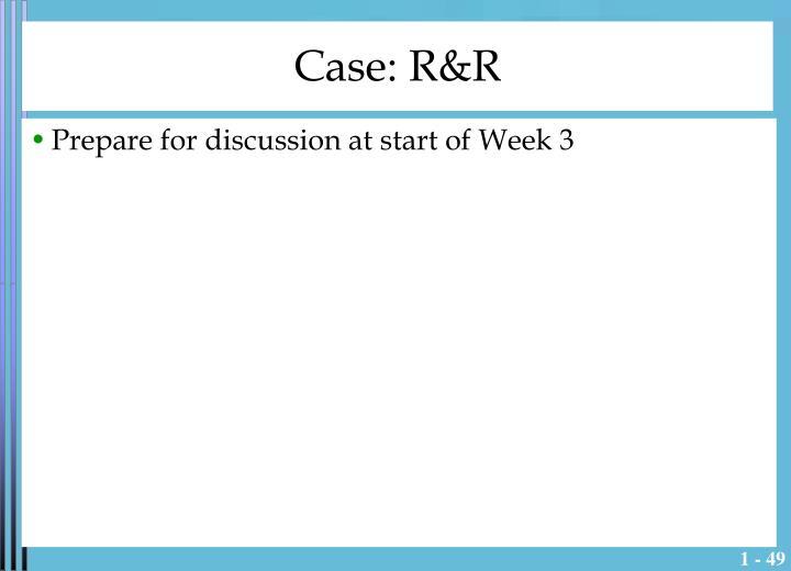 Case: R&R