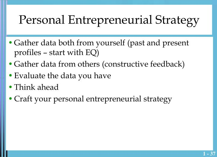 Personal Entrepreneurial Strategy