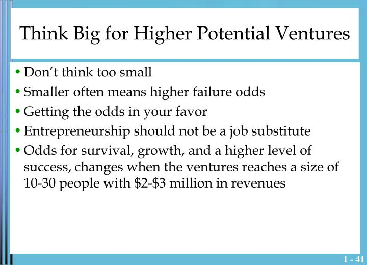 Think Big for Higher Potential Ventures