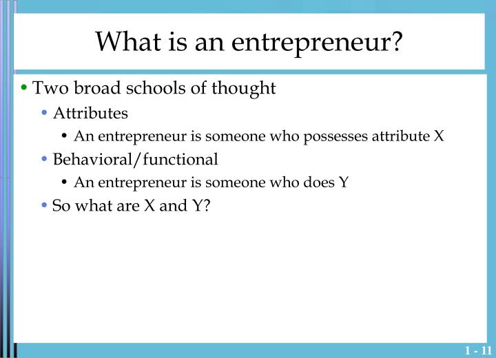 What is an entrepreneur?