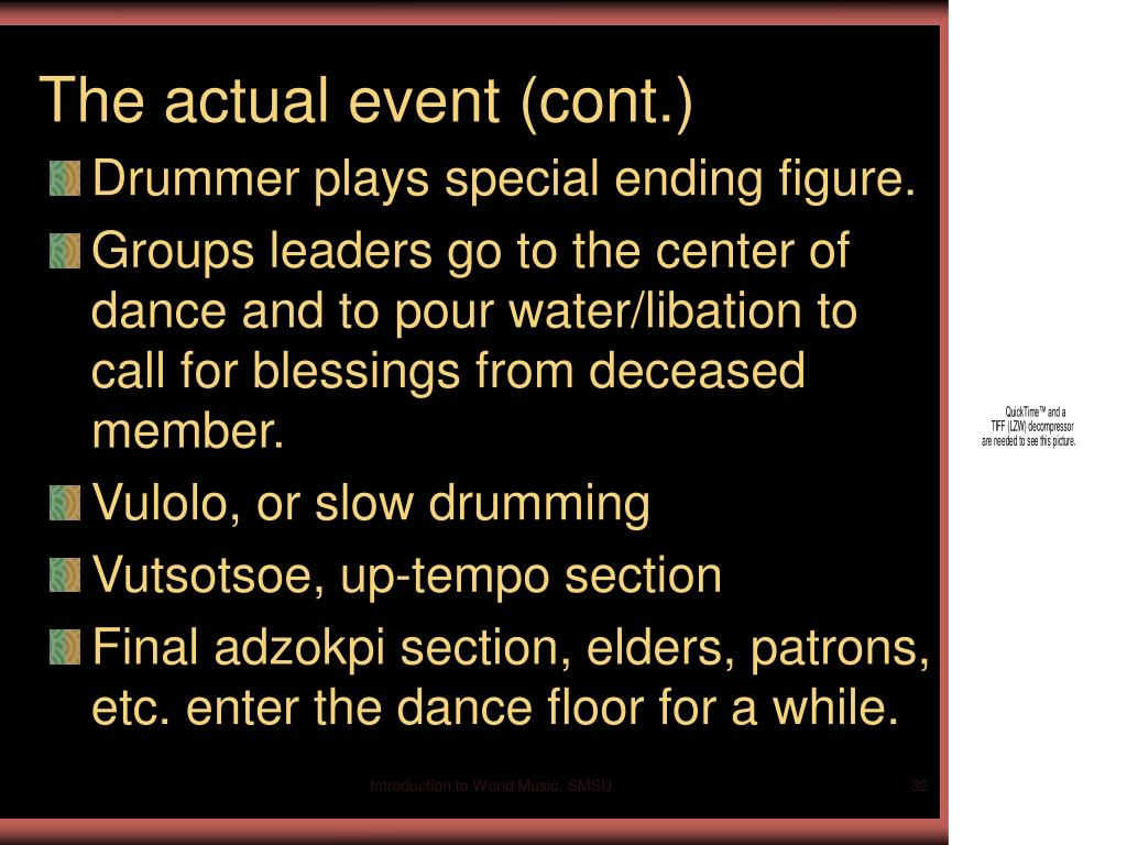 The actual event (cont.)