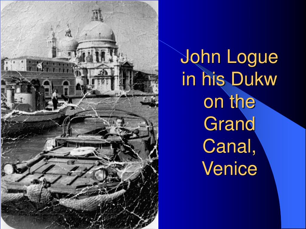 John Logue in his Dukw on the Grand Canal, Venice