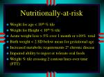 nutritionally at risk