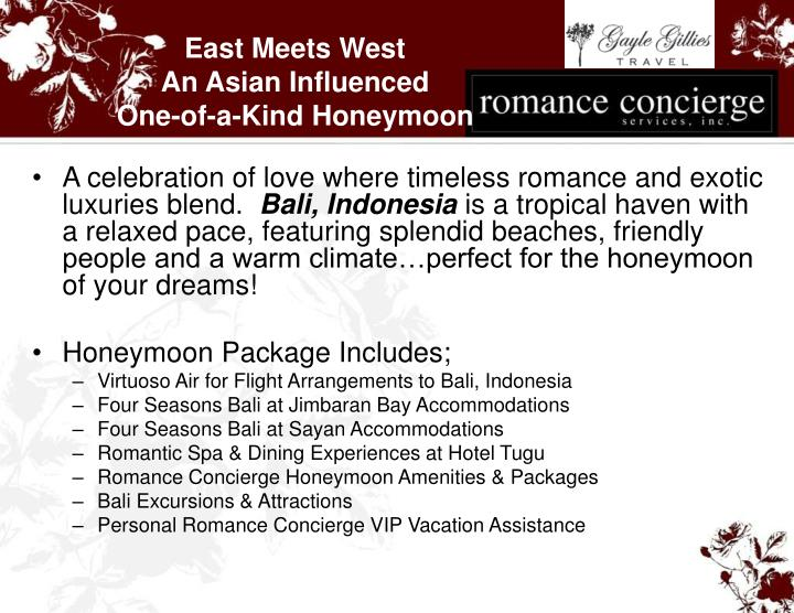 East meets west an asian influenced one of a kind honeymoon