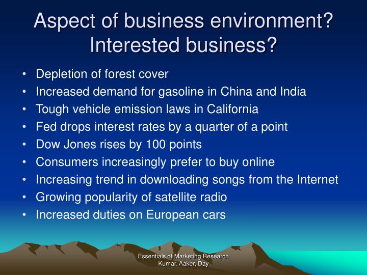 Aspect of business environment?
