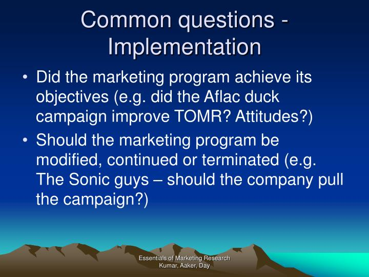 Common questions - Implementation