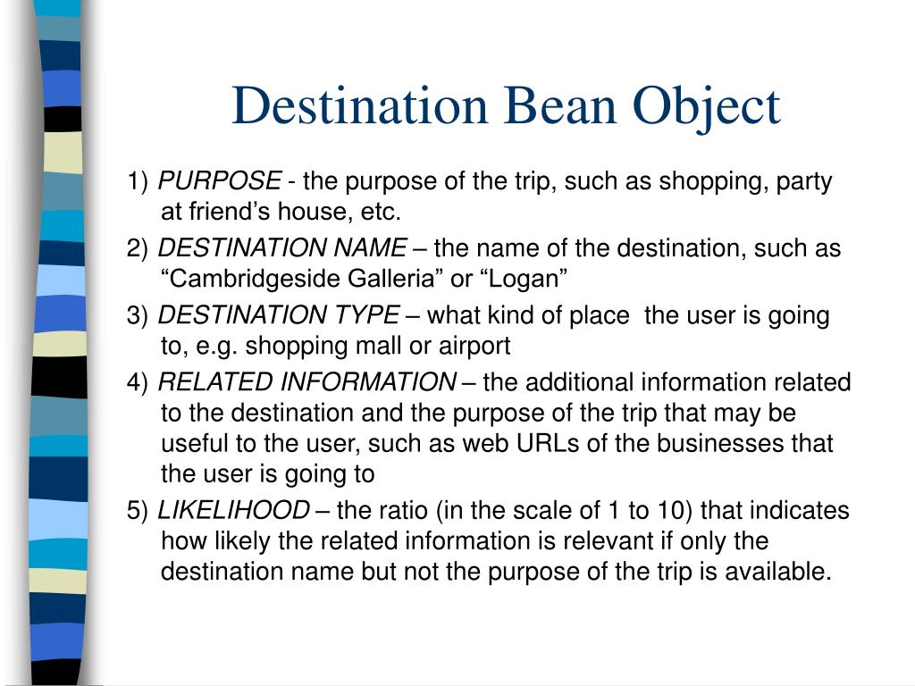 Destination Bean Object