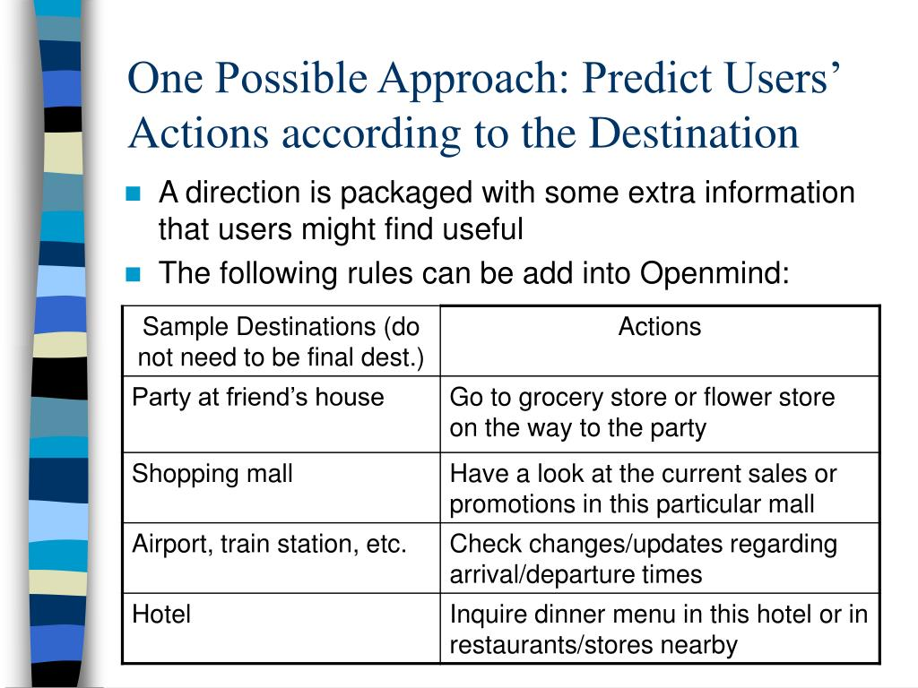 One Possible Approach: Predict Users' Actions according to the Destination