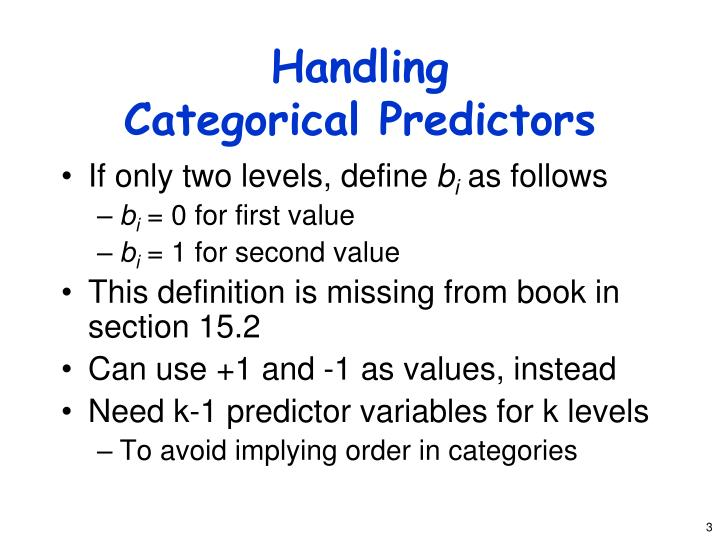 Handling categorical predictors