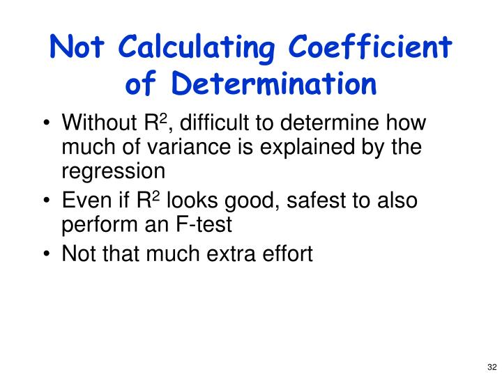 Not Calculating Coefficient of Determination
