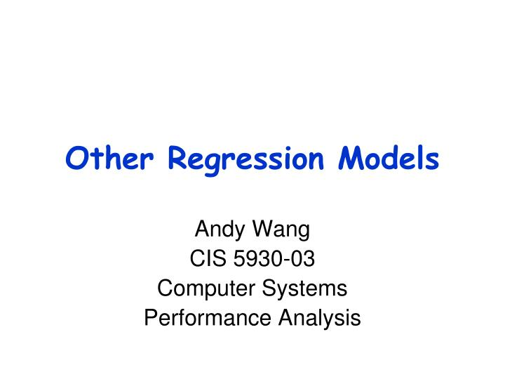 Other regression models