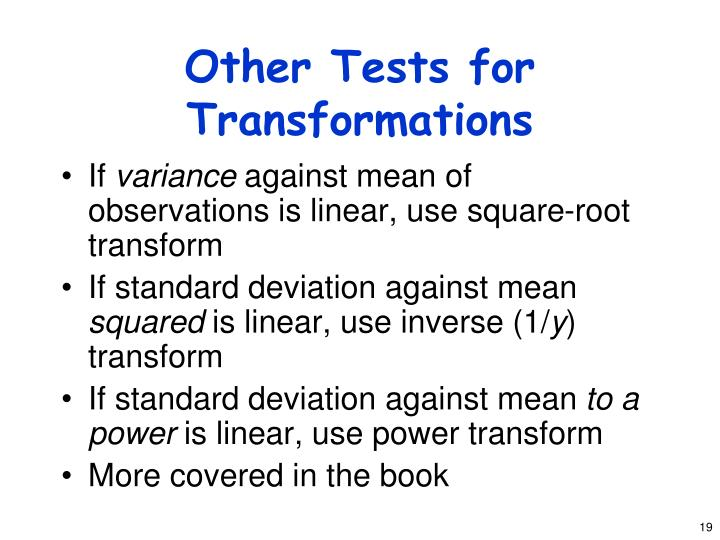 Other Tests for Transformations