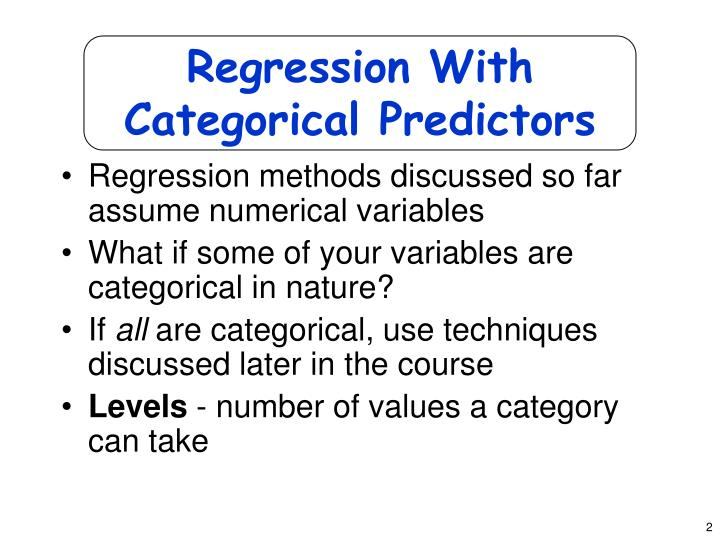 Regression with categorical predictors
