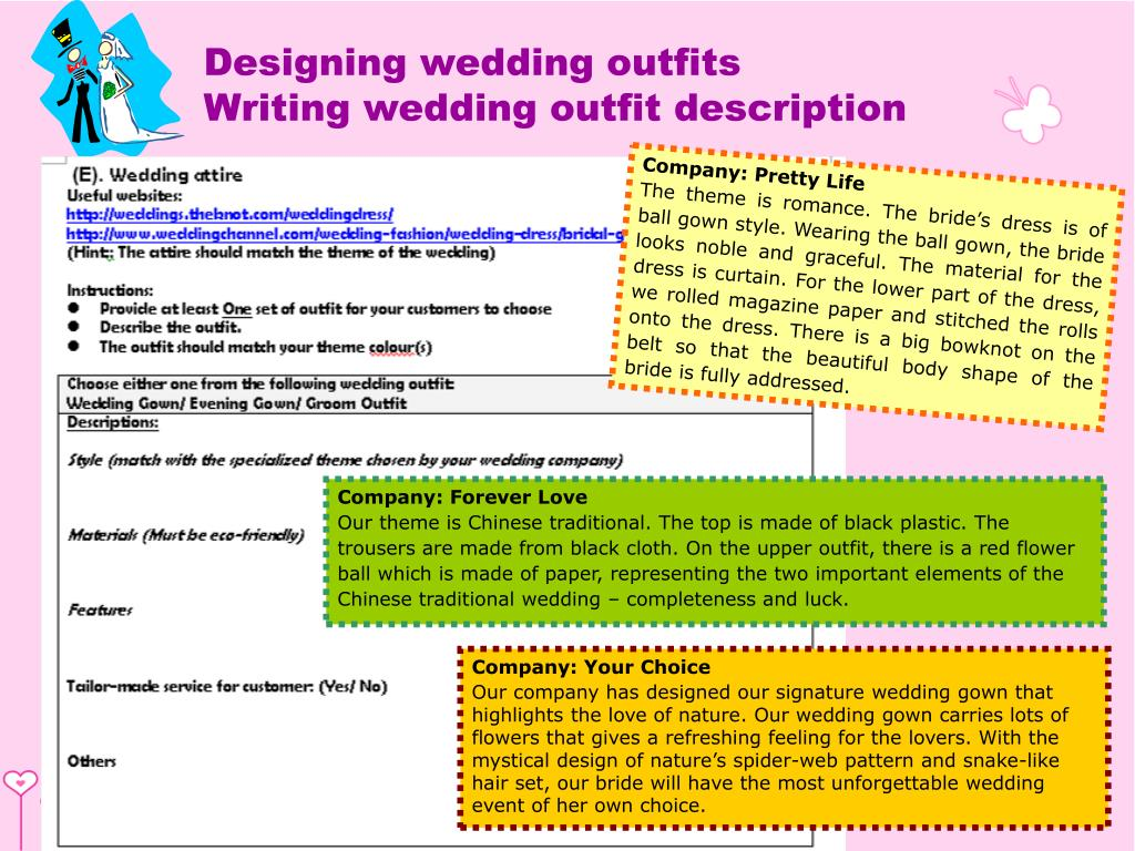 Designing wedding outfits