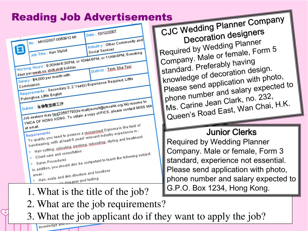 Reading Job Advertisements