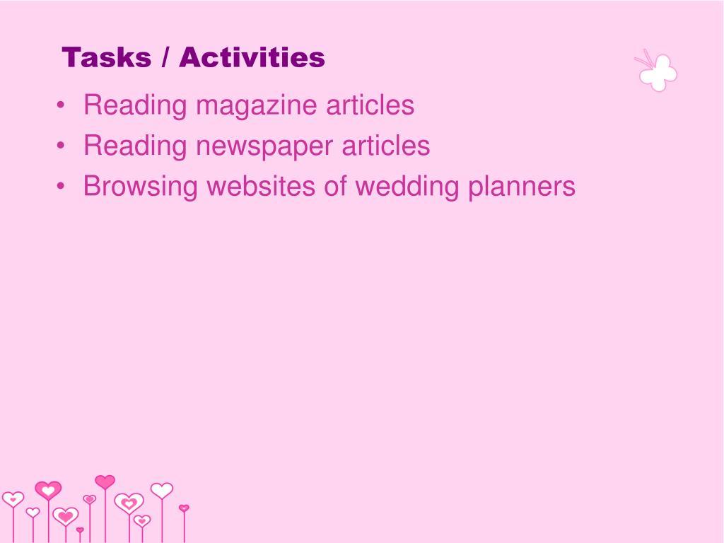 Tasks / Activities