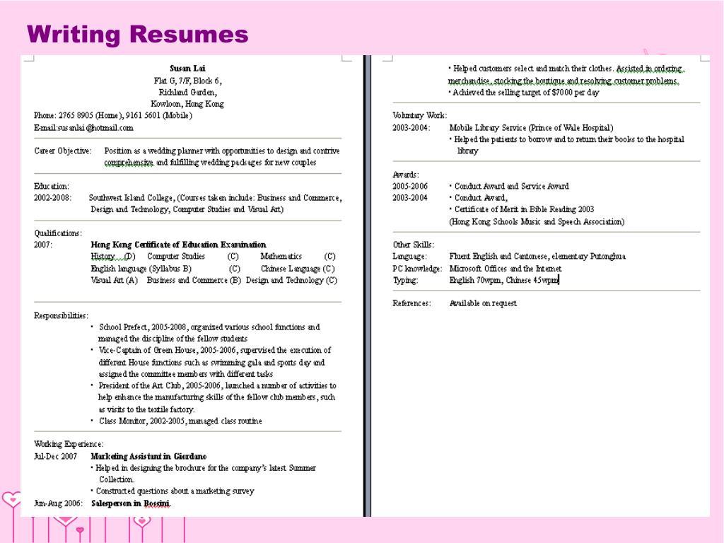Writing Resumes