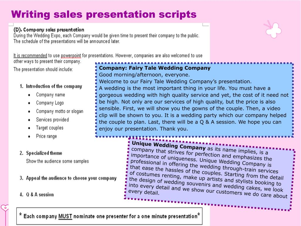 Writing sales presentation scripts