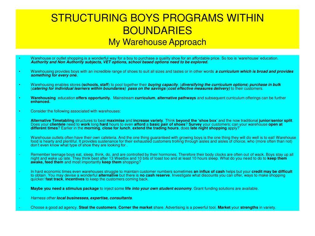 STRUCTURING BOYS PROGRAMS WITHIN BOUNDARIES