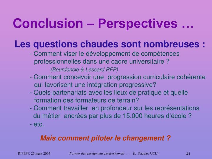 Conclusion – Perspectives …