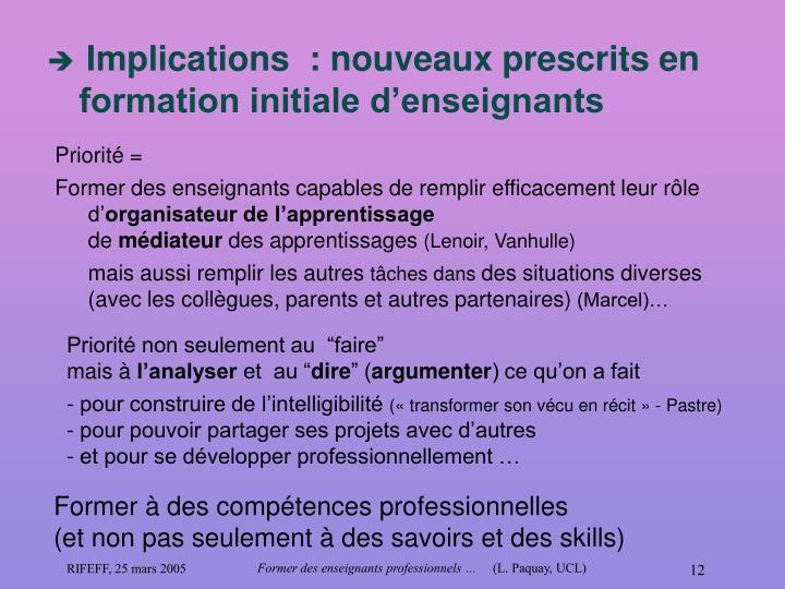Implications  : nouveaux prescrits en formation initiale d'enseignants