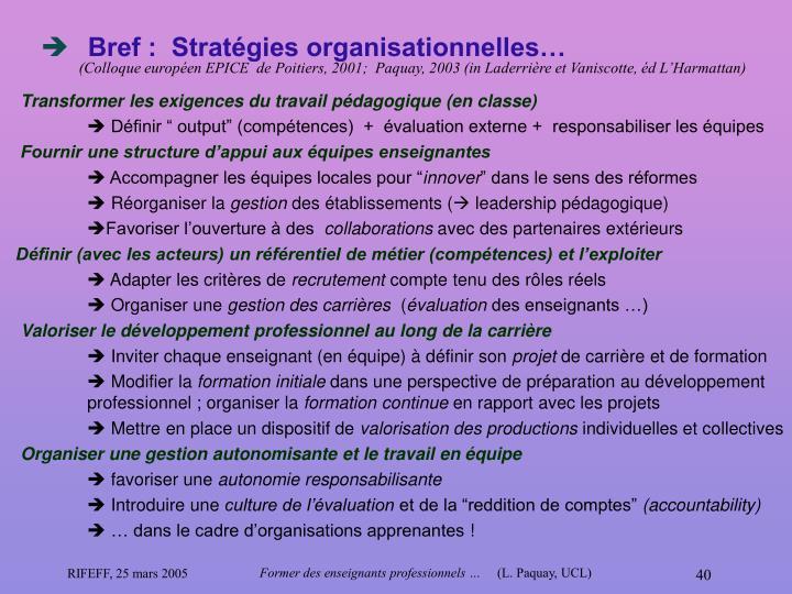 Bref :  Stratégies organisationnelles…