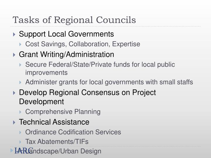 Tasks of Regional Councils