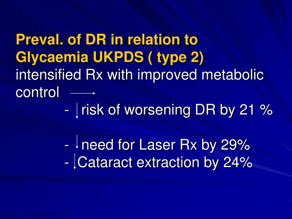 Preval. of DR in relation to Glycaemia UKPDS ( type 2)
