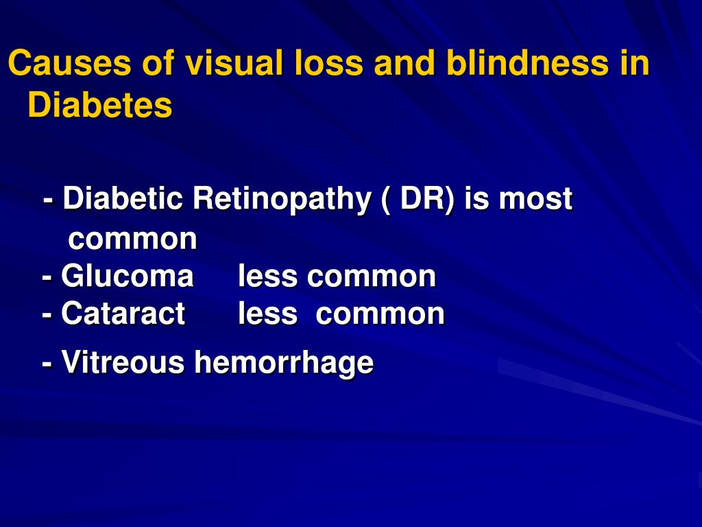 Causes of visual loss and blindness in