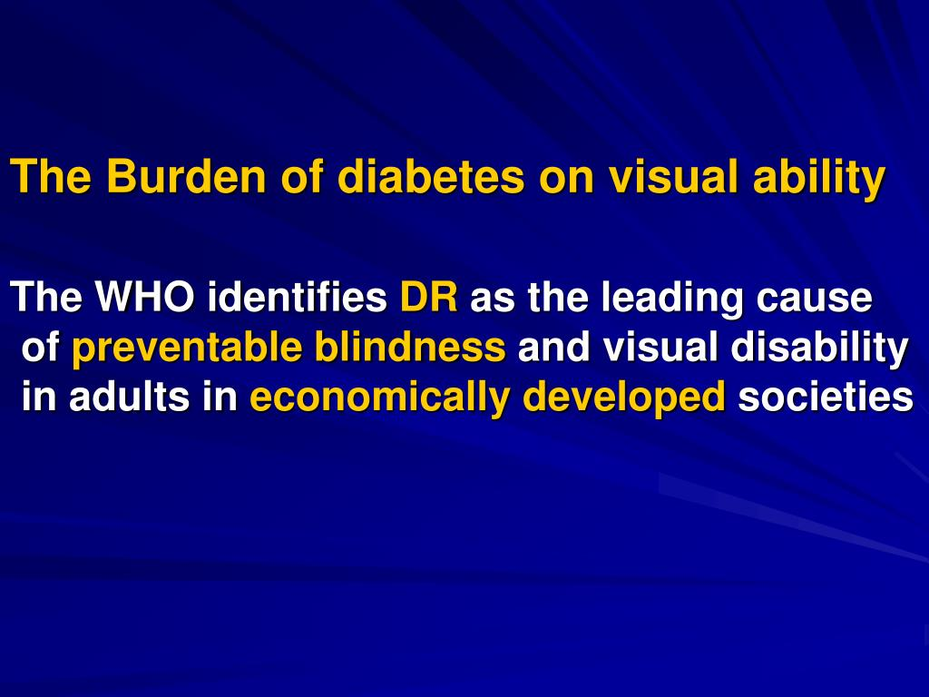 The Burden of diabetes on visual ability