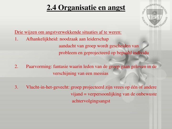 2.4 Organisatie en angst