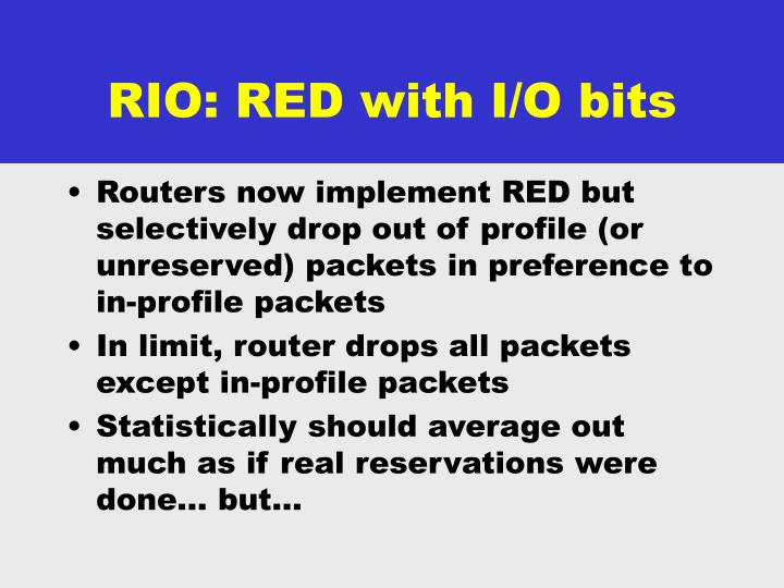 RIO: RED with I/O bits
