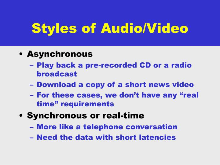 Styles of Audio/Video