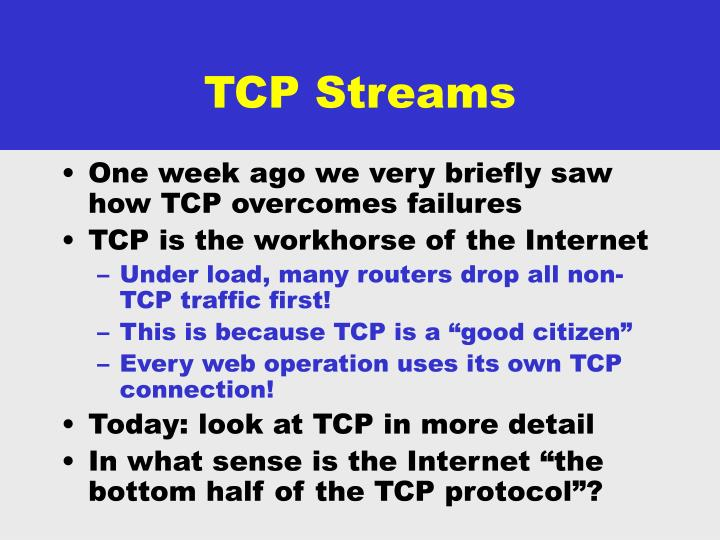 Tcp streams