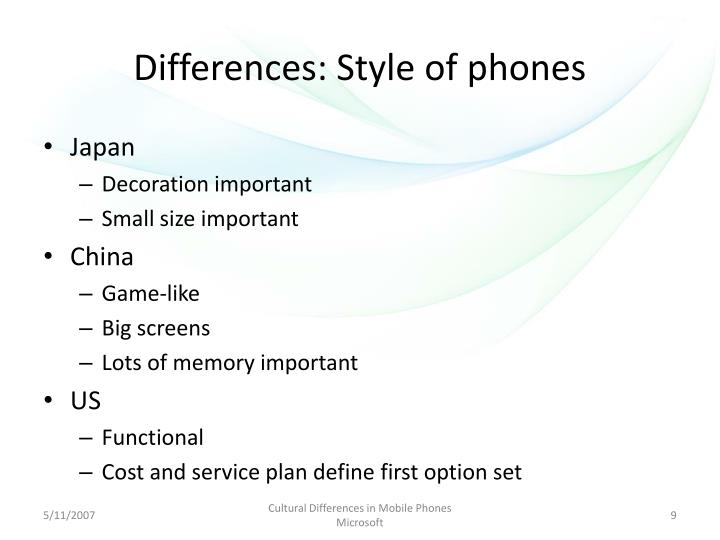 Differences: Style of phones