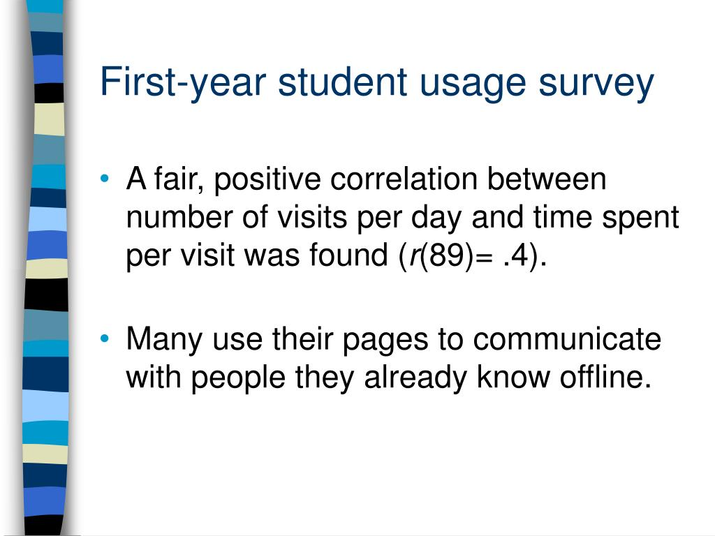 First-year student usage survey