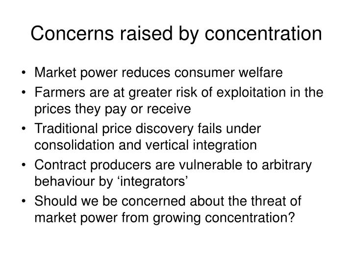 Concerns raised by concentration