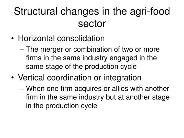 Structural changes in the agri-food sector