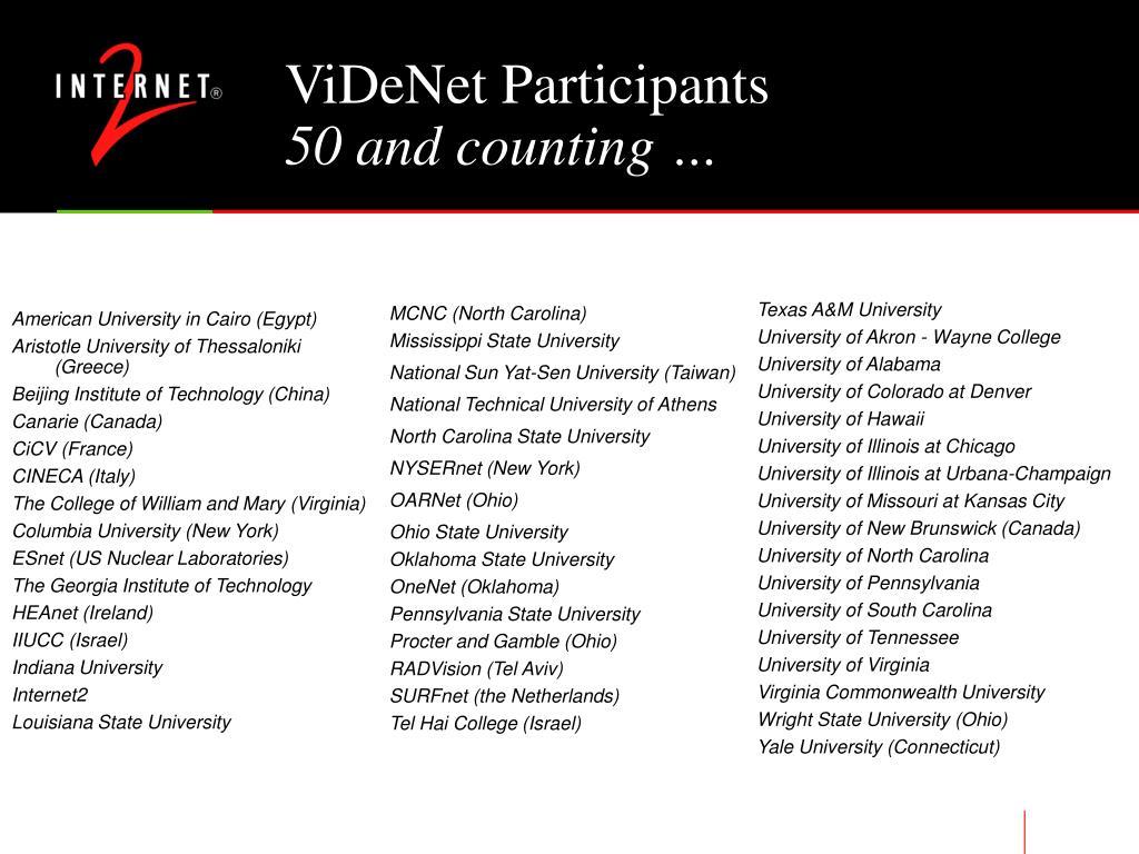 ViDeNet Participants