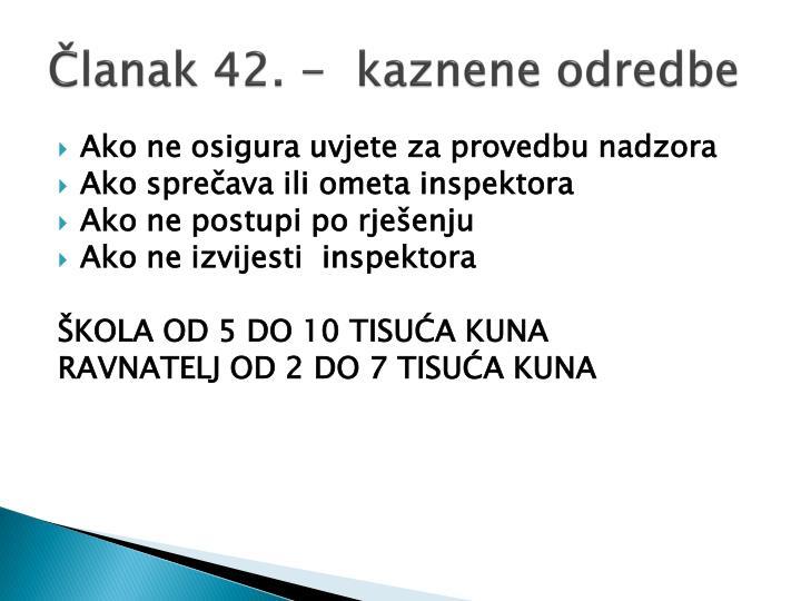 Članak 42. -  kaznene odredbe