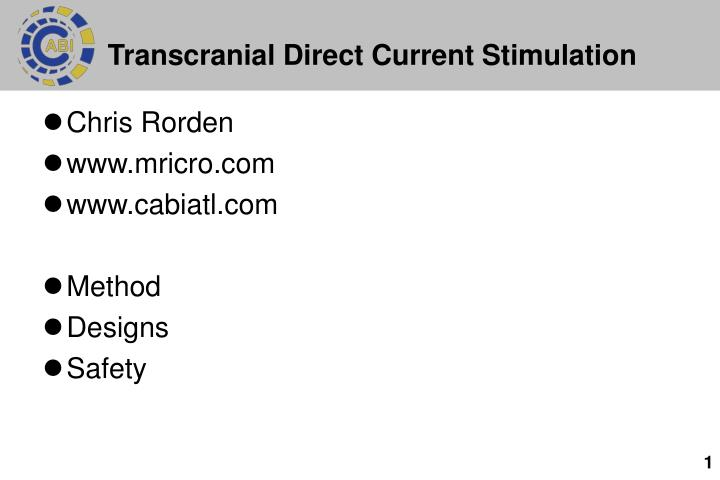 Transcranial direct current stimulation